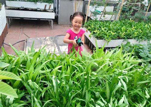 Cô con gái út hào hứng giúp bố tưới rau mỗi ngày.
