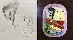 Bố Nhật làm hộp cơm bento theo hình vẽ nguệch ngoạc của con gái