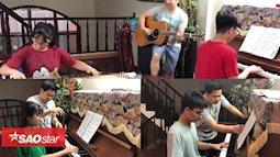 Bố con Trọng Tấn lập ban nhạc 'cây nhà lá vườn' trình diễn siêu đáng yêu