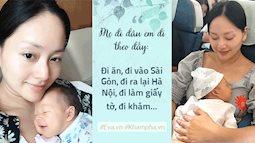 Con gái được 4 tuần tuổi, Lan Phương tâm sự: 'Một tay bế con, một tay làm mọi việc'