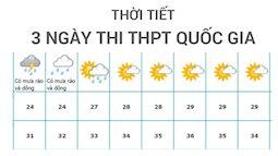 Dự báo thời tiết 3 ngày thi THPT quốc gia