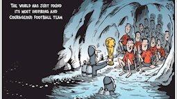 Tranh minh họa chứng tích lịch sử cho cuộc giải cứu đội bóng Thái