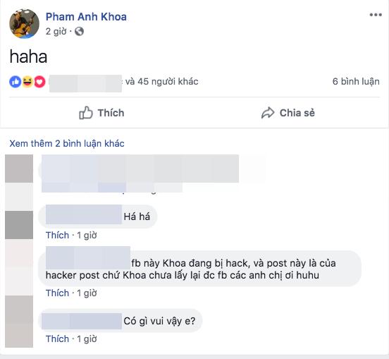 Facebook của Phạm Anh Khoa bất ngờ đăng tải status lạ, vợ của nam rocker lên tiếng cho biết tài khoản này hiện đang bị hack.