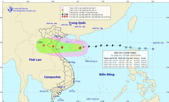 Thời tiết 18/7: Bão số 3 đổ bộ vào các tỉnh Bắc Trung Bộ, nguy cơ lũ quét ngập lụt
