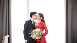 Á hậu Tú Anh xinh đẹp, cười rạng rỡ bên hôn phu trong ngày hôn lễ