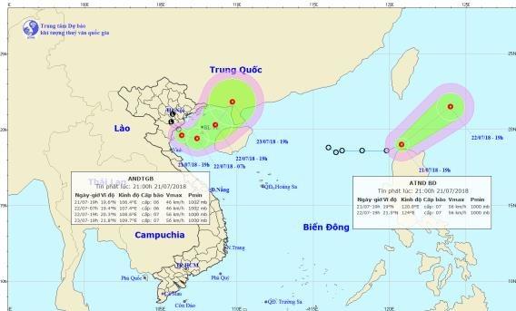 Dự báo ngày 22/7: Biển Đông xuất hiện song song hai cơn áp thấp nhiệt đới