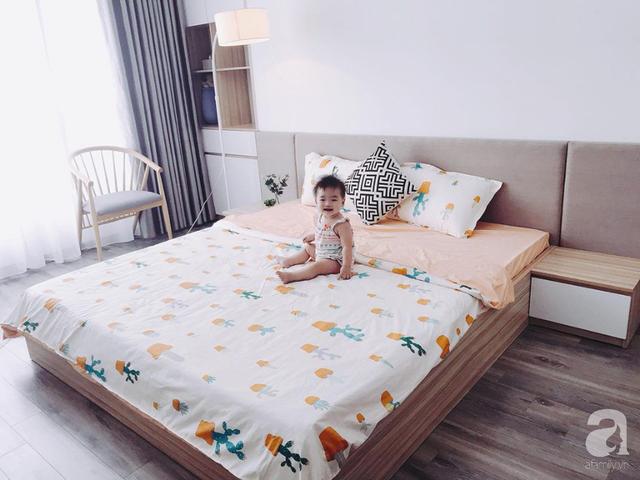 Phòng ngủ êm ái, họa tiết, màu sắc nhã nhặn.