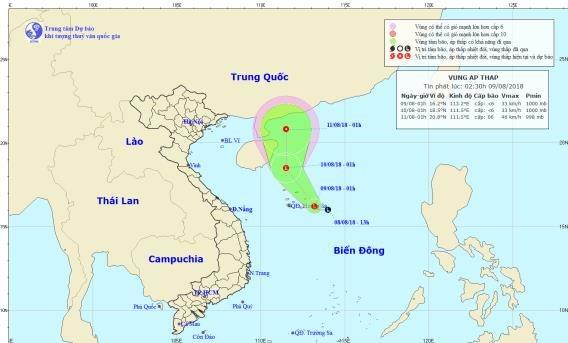 Thời tiết 9/8: Áp thấp nhiệt đới có khả năng mạnh lên hướng thẳng Trung Quốc, Hà Nội oi nóng, Nam Bộ mưa lớn