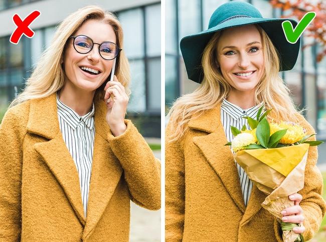 Đeo kính (không phải kính râm)Nếu có thể, các nàng hãy hạn chế đeo kính, bởi hình ảnh trí thức hay mọt sách cũng đồng nghĩa với việc bản thân thêm già dặn.