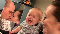Bé gái tủi thân bật khóc mỗi lần bố mẹ hôn nhau