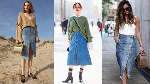 Tự tin xuống phố ngày đầu thu với chân váy denim dài cực sành điệu