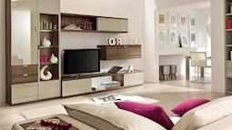 Phòng khách màu be đơn giản mà sang trọng