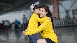 Ngắm vẻ đáng yêu của mẹ con hoa hậu Phí Thùy Linh ở sân bay