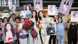 Không chỉ tiễn đi thi, lúc trở về Phương Nga cũng được hoa hậu Tiểu Vy đón tận sân bay