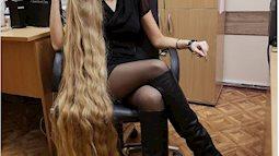 Ngắm mái tóc vàng óc dài 2 mét của bà mẹ một con người Ukraine