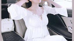 """""""Vòng eo 56"""" Ngọc Trinh bỗng trẻ như gái 18 với váy trắng điệu đà"""