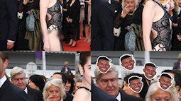 """Ngọc Trinh và bộ cánh """"nhân trần"""" đánh sập LHP Cannes, biểu cảm của bô lão xung quanh được dân mạng tặng ngay 1 vạn 8 ngàn ảnh chế!"""