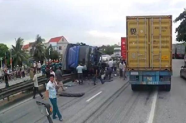 Hải Dương: Tai nạn giao thông 1 người chết, 5 người ra xem bị xe tải tông tử vong - Ảnh 1.