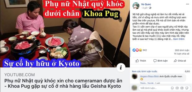 """Biến căng: Siêu đầu bếp Võ Quốc gọi Khoa Pug là """"kẻ rẻ tiền"""", """"vô học khi lấy phụ nữ ra giật title câu view cho vlog tại Nhật - Ảnh 1."""