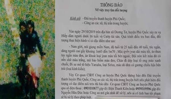 Truy tìm kẻ hiếp dâm bé gái 8 tuổi bán vé số ở Phú Quốc - Ảnh 1.