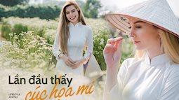 Nghe xôn xao về mùa cúc họa mi siêu đẹp ở Hà Nội, 5 cô gái từ Mỹ, Bồ Đào Nha,... vượt nghìn km để thử mặc Áo dài, đội nón lá giữa vườn hoa