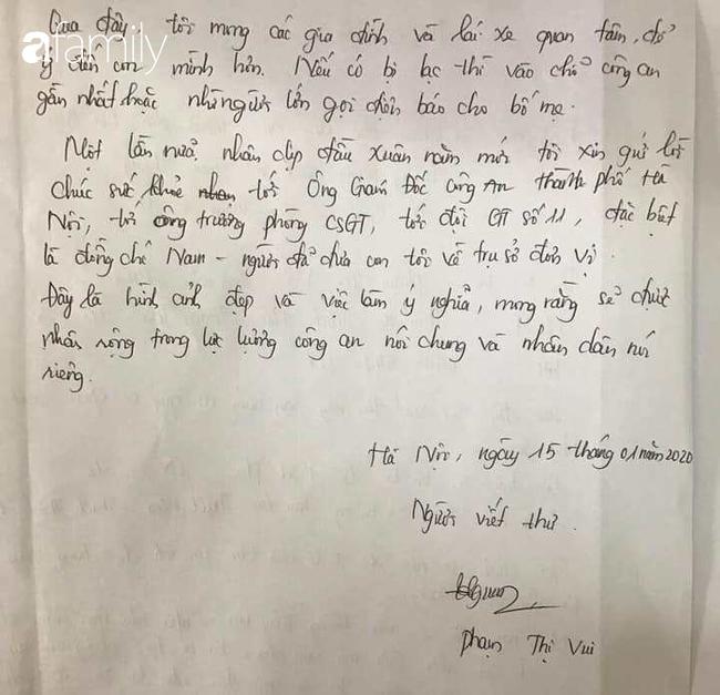 Lá thư cảm ơn của người mẹ tìm được con