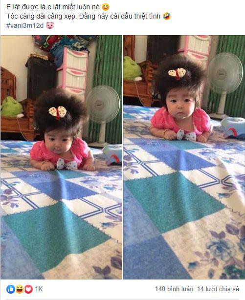 Cô nhóc 3 tháng tuổi có mái tóc dày và xù bông như trẻ 2 - 3 tuổi khiến nhiều người ngỡ ngàng - Ảnh 1.