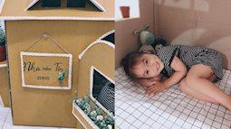 Mẹ Hà Nội làm cho con ngôi nhà bằng bìa các tông siêu dễ thương chỉ hết 200 nghìn đồng, con gái thích mê chơi cả ngày không chán