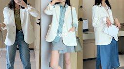 Tranh thủ ở nhà dọn tủ quần áo, cô nàng này trổ tài kết hợp blazer trắng theo 12 cách cực kỳ thú vị