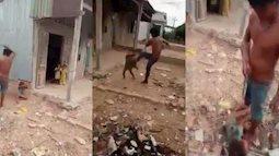Thêm clip bạo hành trẻ em gây phẫn nộ: Cha đẻ đánh đập dã man, tung chân đạp con gái nhỏ bay xa 2 mét!