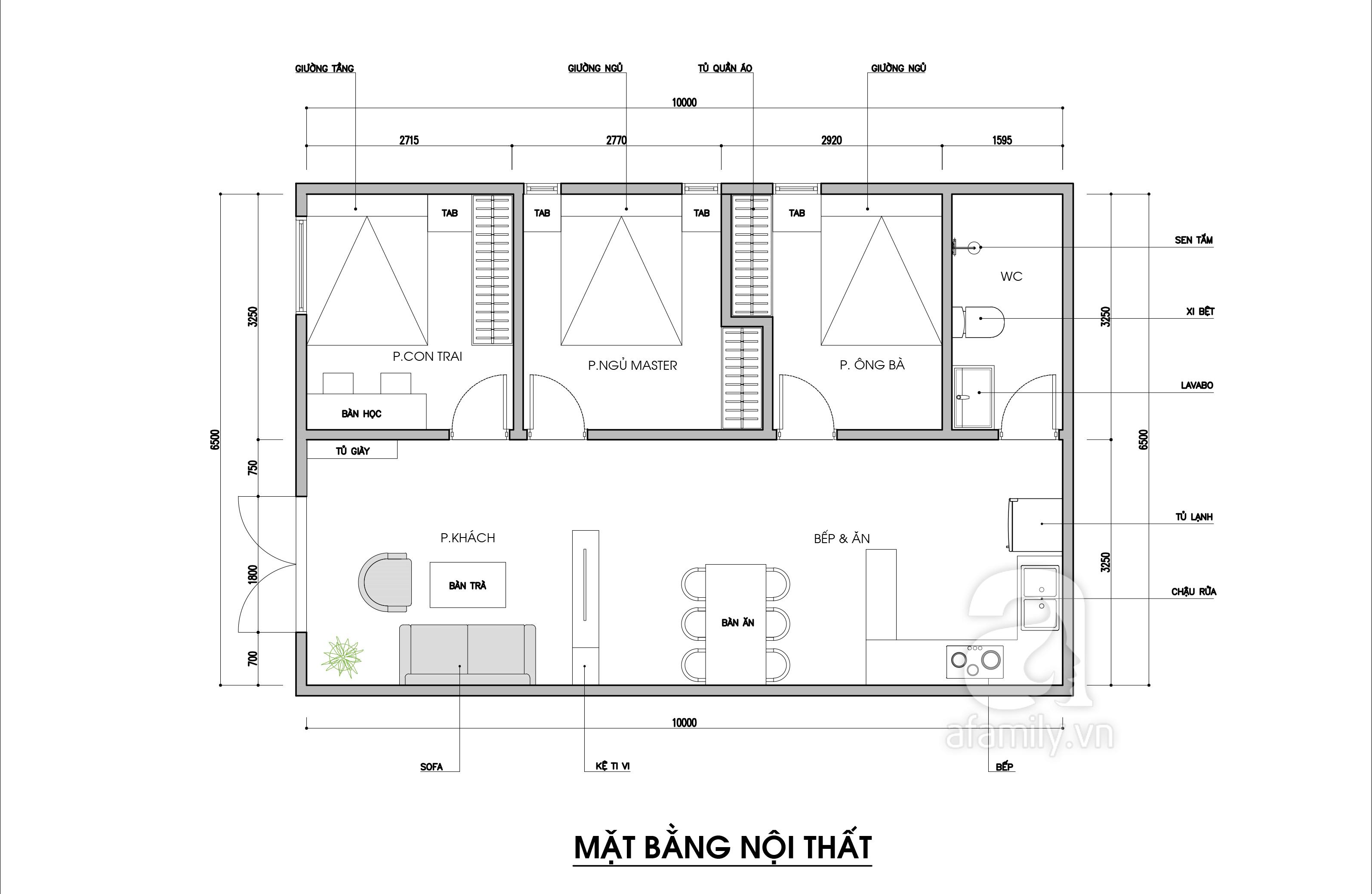 Tư vấn thiết kế nhà cấp 4 diện tích 65m² một tầng 3 phòng ngủ với chi phí 70 triệu đồng - Ảnh 2.