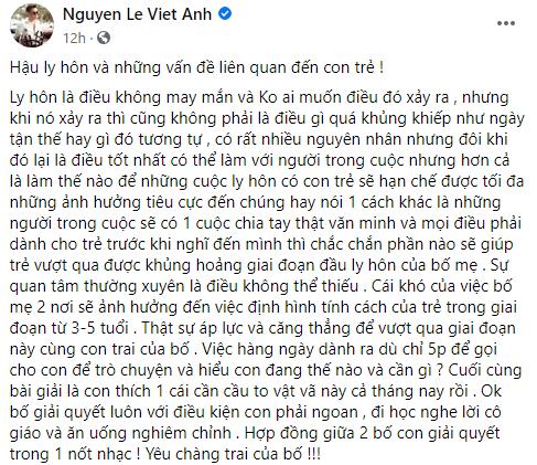 Hậu ly hôn vợ cũ, Việt Anh bất ngờ chia sẻ quan điểm về việc để con trai không bị tổn thương sau khi bố mẹ chia tay - Ảnh 1.