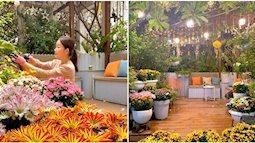 """""""Ghen tị"""" khu vườn 200m² ngập tràn hoa tươi và rau củ quả sạch trên sân thượng của nữ doanh nhân Sài Gòn"""
