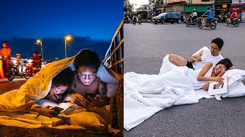 Sau một ngày bị dân mạng chửi tanh bành vì ôm mền gối nằm giữa phố Hà Nội chụp ảnh, nhiếp ảnh gia lần đầu lên tiếng và công bố hình thành phẩm cực kỳ bất ngờ