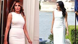 """Cùng mặc một kiểu đầm trắng, Meghan Markle bị chê khí chất """"kém"""" hẳn so với Đệ nhất phu nhân Mỹ dù người mới 39 còn người thì tận 50"""