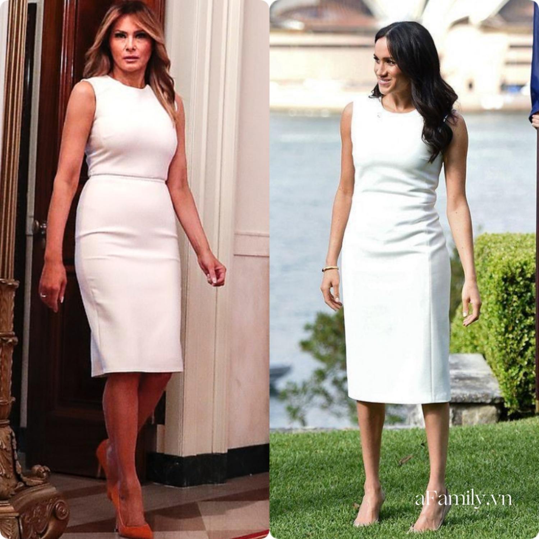 Cùng mặc một kiểu đầm trắng, Meghan Markle bị chê khí chất