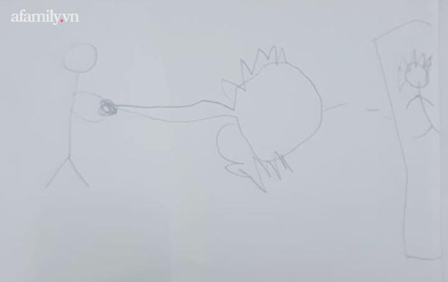 Con trai hí hoáy vẽ tranh rồi thông báo