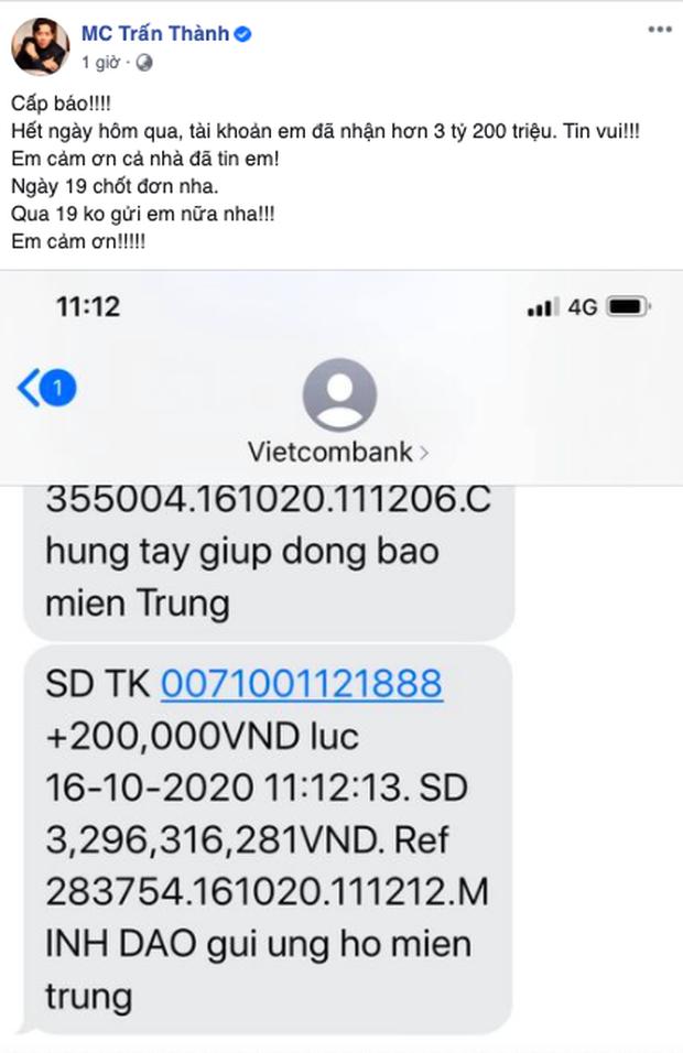 Sau 24 giờ, Trấn Thành đã kêu gọi được 3,2 tỷ đồng, 3 ngày tới sẽ đến miền Trung cứu trợ bà con - Ảnh 3.