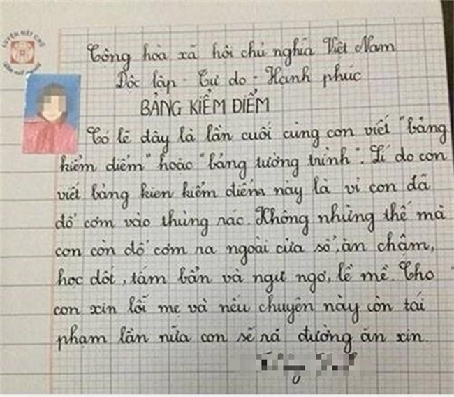 Không viết bài phải làm bản kiểm điểm, cô bé lớp 3 đưa ra lời hứa khiến ai nấy phải thốt lên: Biểu hiện của sự lươn lẹo là đây! - Ảnh 2.