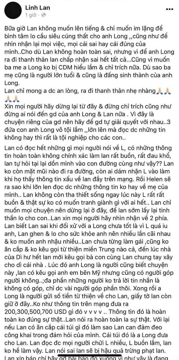 Vợ Vân Quang Long chính thức xin lỗi chồng và bố mẹ chồng, giải thích ngọn ngành loạt thông tin bị đấu tố trên MXH - Ảnh 2.
