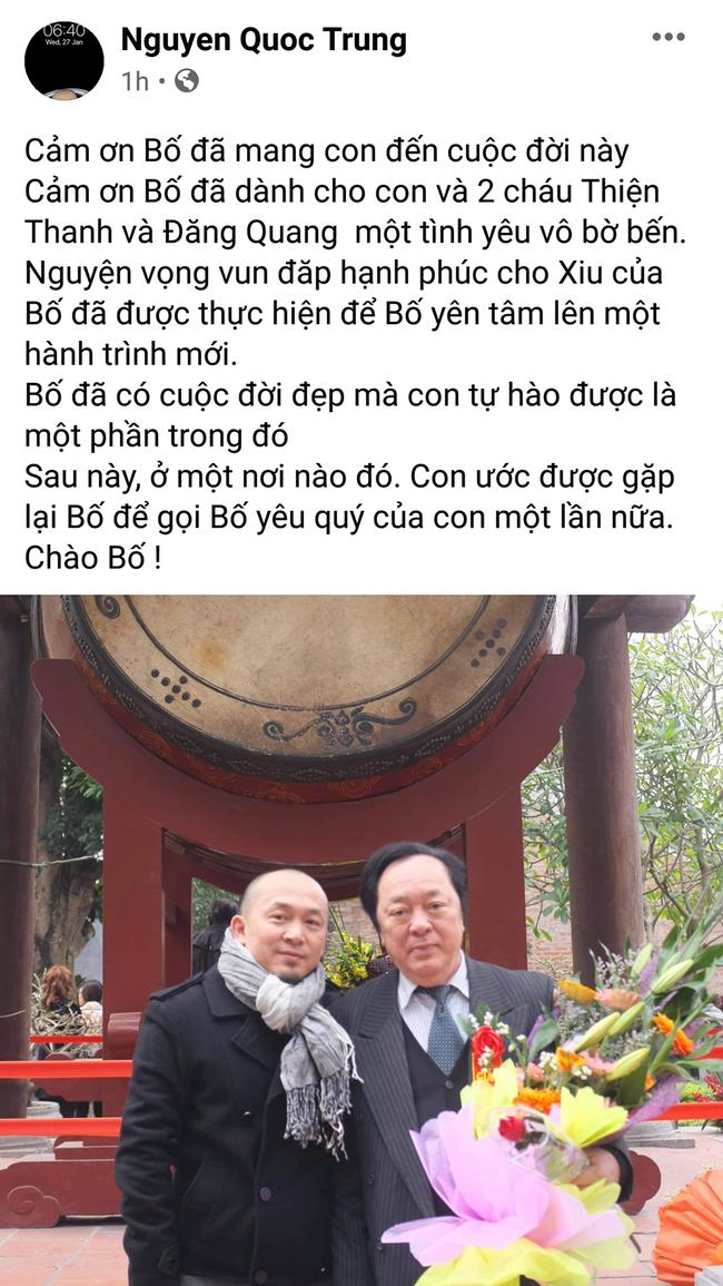 Nhạc sĩ Quốc Trung có chia sẻ đầu tiên sau khi bố ruột - NSND Trung Kiên qua đời - Ảnh 1.