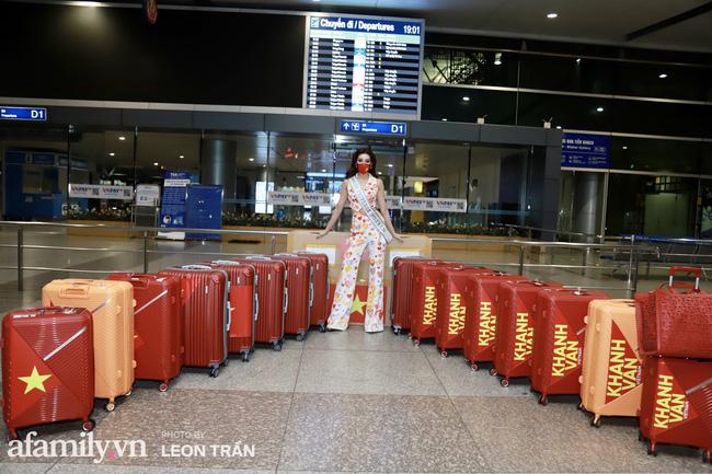 Khánh Vân đeo khẩu trang hình cờ Việt Nam, mang 16 vali hành lý lên đường sang Mỹ thi Hoa hậu Hoàn vũ 2020 - Ảnh 5.