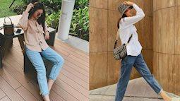 Thanh Hằng diện quần jeans ống đứng nhiều hơn cả jeans ống rộng, bảo sao trông cô luôn sành điệu và trẻ hơn tuổi