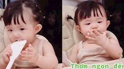 Hài hước cảnh con gái Đông Nhi say mê ăn cơm bất chấp mọi thứ xung quanh