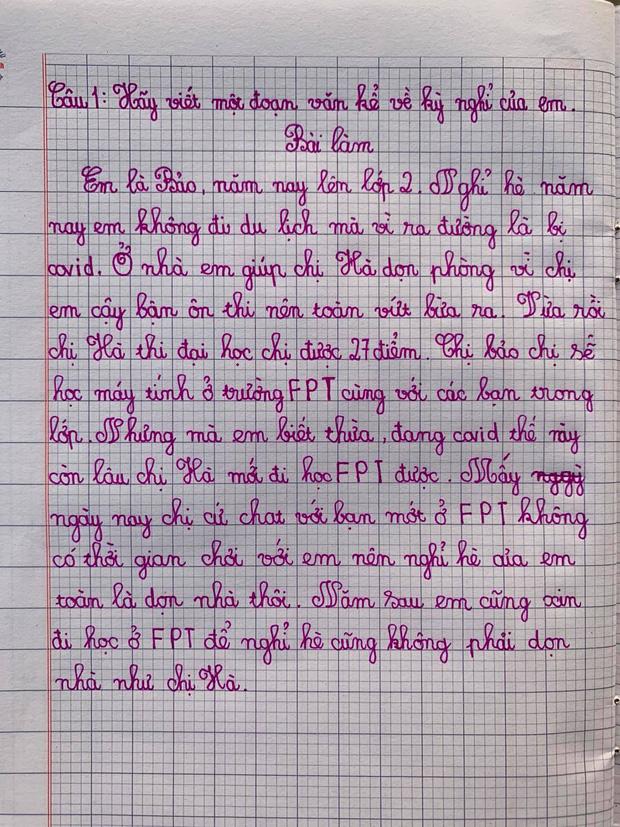 Bài văn kể về kỳ nghỉ hè của học sinh lớp 2, đọc xong chị gái không tăng xông mới lạ: Cậy ôn thi vứt đồ bừa bãi cho mình dọn cả ngày - Ảnh 1.