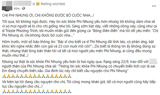 Tình hình sức khỏe của Phi Nhung diễn biến xấu, vợ cũ Bằng Kiều liên tục nhắn nhủ