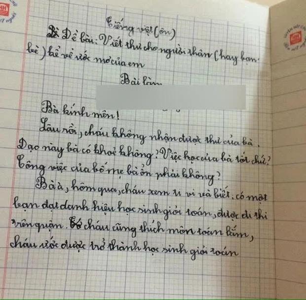 Tập làm văn bằng cách viết thư cho bà, học sinh tiểu học hỏi hai câu mà xem xong ngã ngửa - Ảnh 1.