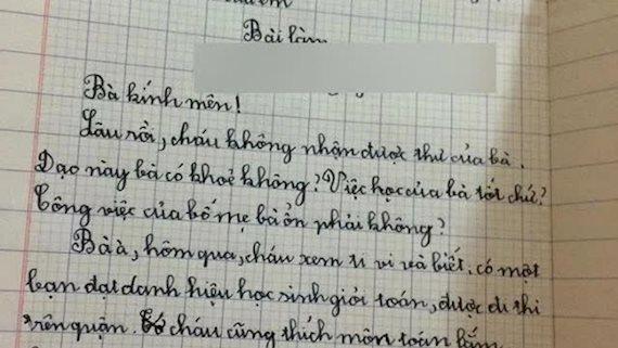 Tập làm văn bằng cách viết thư cho bà, học sinh tiểu học hỏi hai câu mà xem xong ngã ngửa