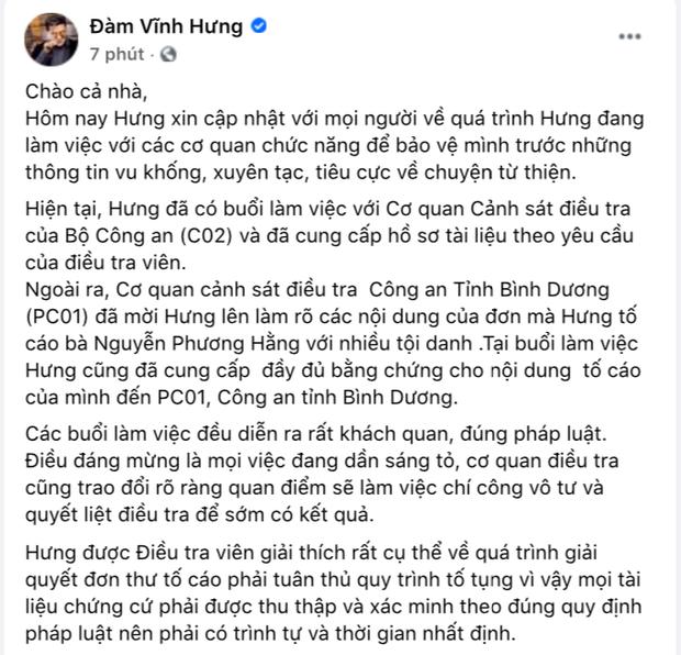 Nóng: Đàm Vĩnh Hưng xác nhận đã làm việc với cơ quan chức năng, tuyên bố cực căng về vụ kiện tụng với bà Phương Hằng! - Ảnh 3.